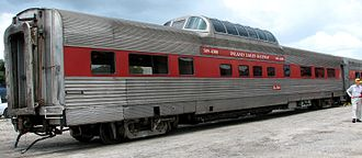 Dome car - Former California Zephyr dome car in excursion train service with the defunct Inland Lakes Railway in Plymouth, Florida.
