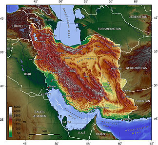 Topography of Iran with the Zāgros Mountains