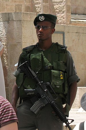 Israel Border Police - Magavnik in the Muslim Quarter of Jerusalem's Old City.
