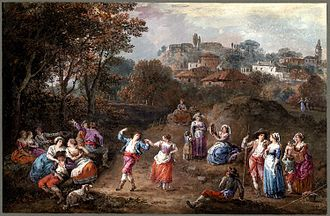 Francesco Zuccarelli - Italian Landscape with a Country Festival. Drawing with body colour. British Museum, London.