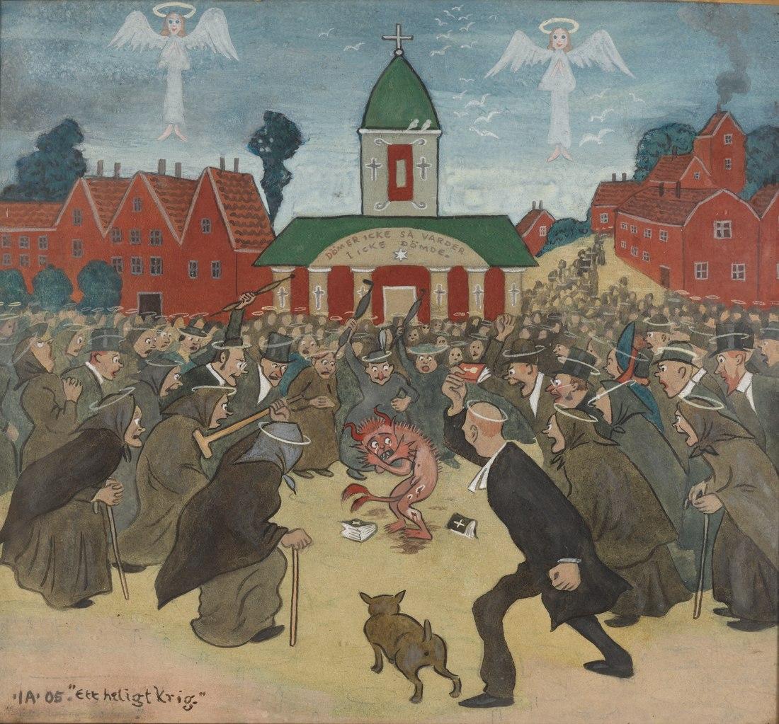 Ivar Arosenius: A Holy War (1905). Thiel Gallery, Per Myrehed.