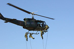 Army aviation - Soldiers rappelling (abseiling) from a JGSDF UH-1H in 2007