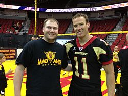 Myself with J. J. Raterink of the Iowa Barnstormers