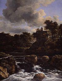 Jacob van Ruisdael - Waterfall with Church Mauritshuis.jpg
