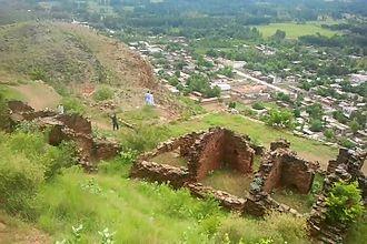 Jamal Garhi - View of Jamal Garhi from the Buddhist ruins.