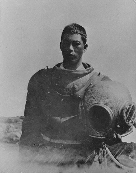 A young Japanese Abalone Diver in California in 1905 Japanese Abalone Diver.jpg