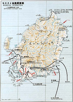 A topographic map of Morotai showing the locations where the Japanese reinforcements mentioned in the text landed and the subsequent movements of these forces, as well as the Allied perimeter in the island's south-west and movements of Allied forces.