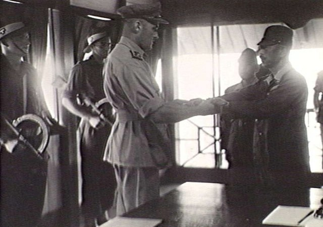 The surrender ceremony of the Japanese to the Australian forces at Keningau, British North Borneo on September 17, 1945