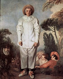 Watteau's painting Gilles, on which Planché based the costume of Pierrot in Love and Fortune (Source: Wikimedia)