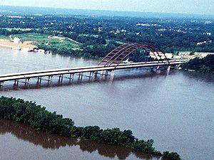Monroe County, Illinois - J. B. Bridge during the flood of 1993