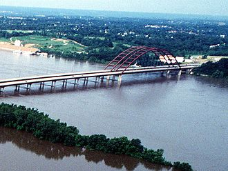 Monroe County, Illinois - J. B. Bridge during the flood of 1993
