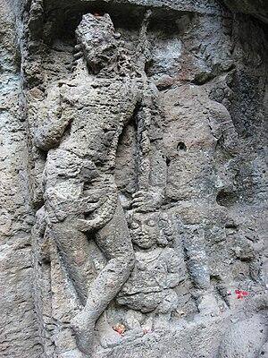 Jogeshwari Caves - Image: Jogeshwari Caves carving