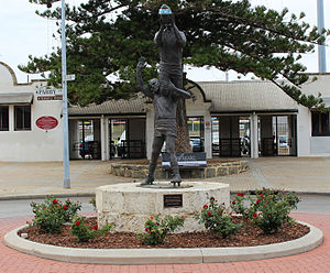 West Australian Football League - Statue of the famous mark by South Fremantle's John Gerovich over East Fremantle's Ray French at the 1956 WAFL preliminary final.