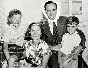 Ian Johnson (cricketer) - Johnson, with his wife and sons