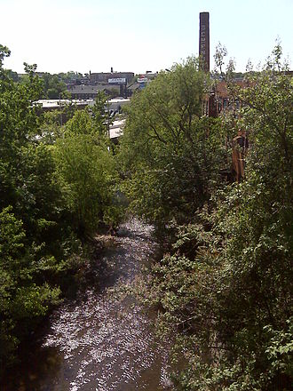 Jones Falls - A view of the Jones Falls from the 41st Street bridge, which crosses the valley. The JFX (Jones-Falls Expressway) is also visible in the center of the picture.