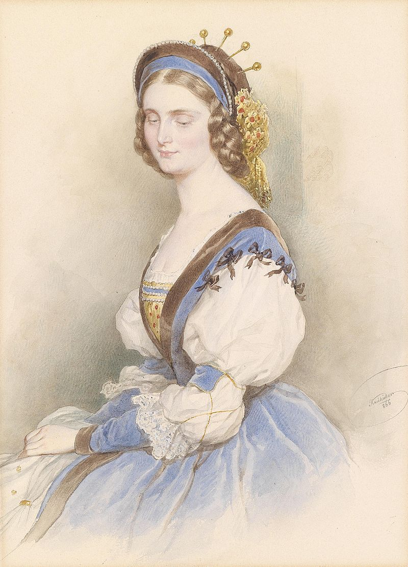 Josef Kriehuber Bildnis einer jungen Dame in blauem Kleid 1866.jpg