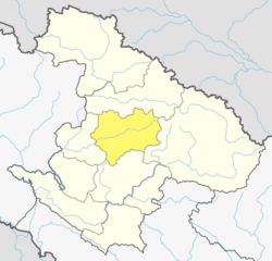 Location of Jumla District (dark yellow) in Karnali Province of Nepal.