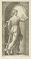 Justice personified by a young woman holding a sword in her raised right hand, scales in her left, from 'The Virtues' MET DP854366.jpg