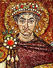 Justinian depicted on one of the famous mosaics of the Basilica of San Vitale, Ravenna.