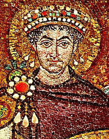 Byzantine Emperor Justinian I clad in Tyrian purple, 6th-century mosaic at Basilica of San Vitale, Ravenna, Italy
