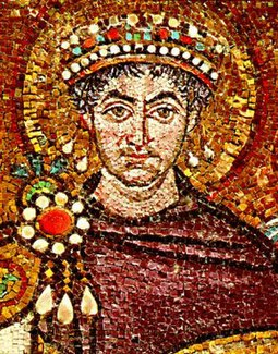 Byzantine Emperor Justinian I clad in Tyrian purple; 6th-century mosaic in the Basilica of San Vitale Justinian.jpg