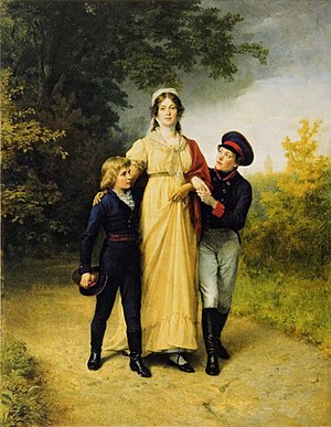 Kaliningrad Central Park - Queen Louise with her sons Frederick William and William in Luisenwahl Park. Painting by Carl Steffeck, 1886.