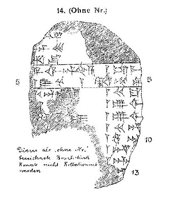 Rimush of Assyria - Schroeder's line art for the Assyrian Kinglist fragment known as KAV 14 after his publication.
