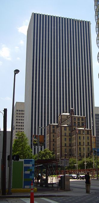 KBR (company) - KBR Tower, the headquarters of KBR and a part of Cullen Center, with the Downtown Houston YMCA ahead