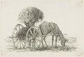 KITLV - 36B286 - Borret, Arnoldus - Man loading a two-wheeled cart with horse - Pen and ink - Circa 1880.tif