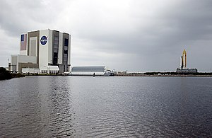 Turning basin - The Pegasus barge docked in the turning basin beside the Vehicle Assembly Building at the Kennedy Space Center