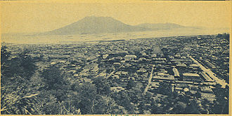 Kagoshima - The city covered deep in ash after the 1914 eruption of the Sakurajima volcano which is seen in the distance across the bay