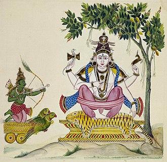 Kamadeva - Kamadeva shooting his love-arrow at Shiva