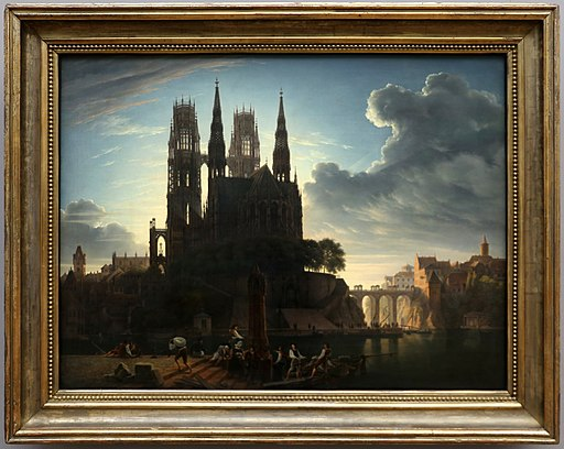 Karl friedrich schinkel, cattedrale gotica vicino a uno specchio d'acqua, 1813
