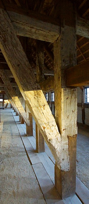 Karlsladen - The bottom part of many of the heavy load bearing oak pillars was replaced with new timber in 2013.