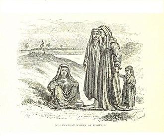 Phiran - Image: Kashmiri Muslim women in traditional long Phiran 1870
