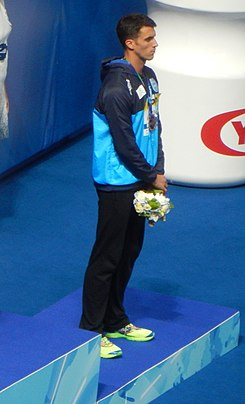 Kazan 2015 - Victory Ceremony 100m freestyle M (cropped).JPG