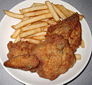 KFC fried chicken and french fries.