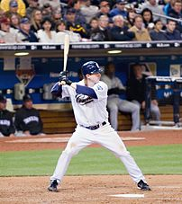 Khalil Greene of the San Diego Padres at bat i...