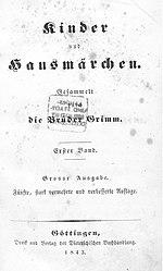 Kinder- und Hausmärchen 1843 5. Auflage Band 1