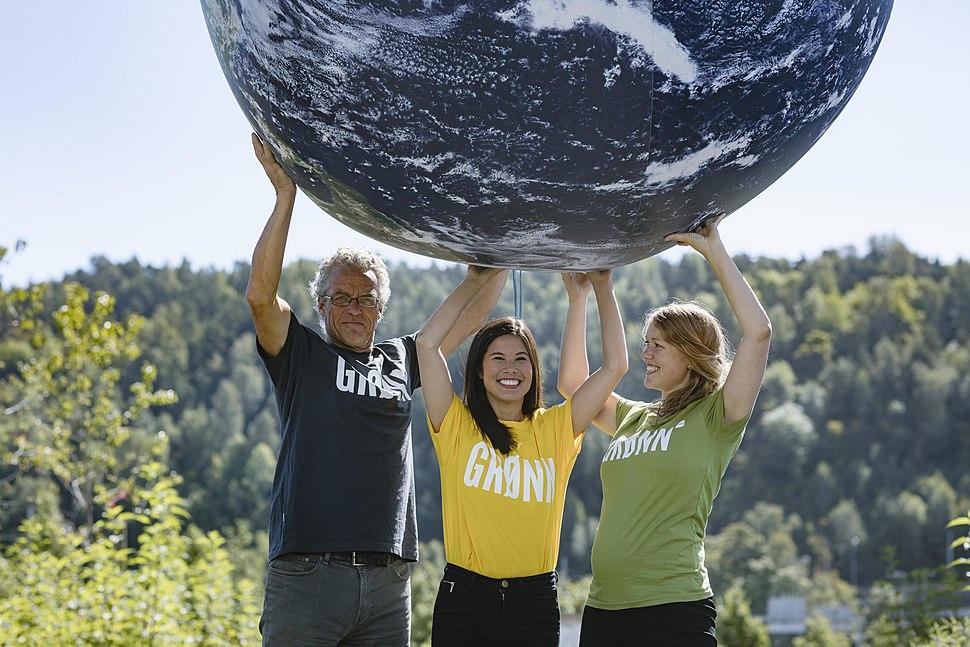 Kloden, Une Aina Bastholm, 1. kandidat for De Grønne i Oslo, Rasmus Hansson, 1. kandidat for De Grønne i Akershus og Lan Marie Nguyen Berg, byråd for miljø og samferdsel i Oslo