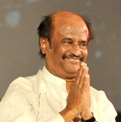 Rajinikanth is seen greeting.