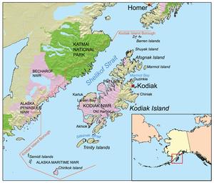 Городок острова Кадьяк, Аляска - Kodiak Island Borough, Alaska - qaz.wiki