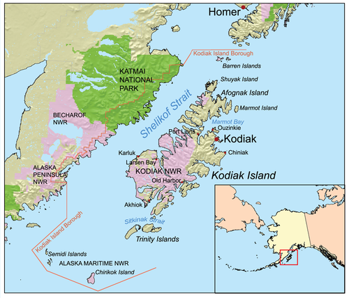 Kodiak Island map in Alaska.png