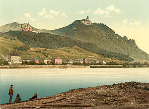 Drachenfels (Siebengebirge) - Königswinter and the Drachenfels. Postcard in Photochrom, around 1900.