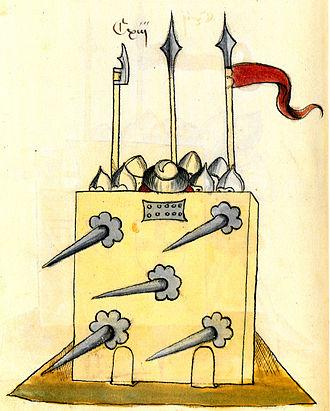 Bellifortis - Warriors taking cover behind a shield (Clm 30150 manuscript)