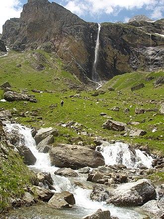 Upper Reka - Dlaboka river and its waterfall in background