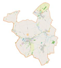 """Mapa konturowa gminy Krzanowice, po lewej nieco u góry znajduje się punkt z opisem """"Przejście granicznePietraszyn–Sudice"""""""