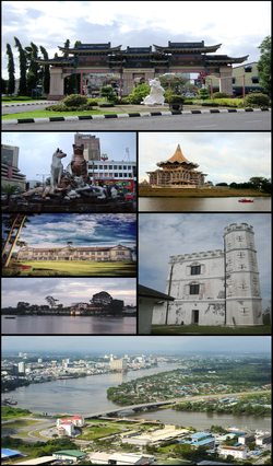 Clockwise from top right: Chinatown, State Assembly building, Fort Margherita, Pending Bridge, The Astana, Sarawak State Museum and cat statues.