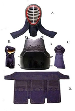Kumdo - The suit of modern Kumdo armor, excepting the scarf which is worn over the scalp inside of the helmet.