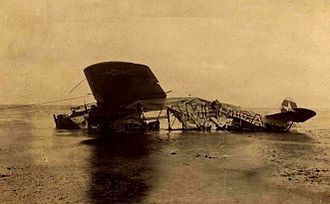 """Total loss - Richard Byrd's Fokker """"America"""" was completely written off after its forced ditching in the Atlantic in June 1927. Byrd and three others survived. The original destination Paris was socked in by fog making a landing impossible at LeBourget. Souvenir hunters stripped the aircraft of its fabric skin and other components."""